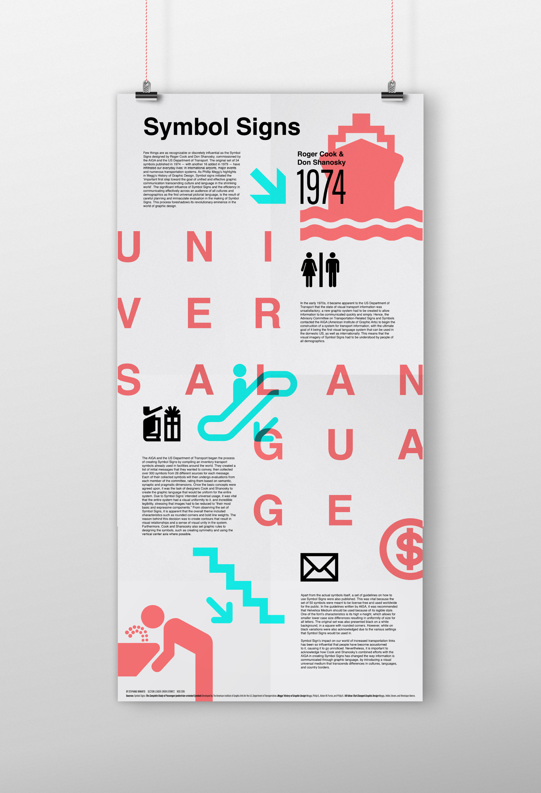 poster and essay on the set of symbol signs created by roger cook and don shanosky for the aiga and the us department of transportation risd graphic design