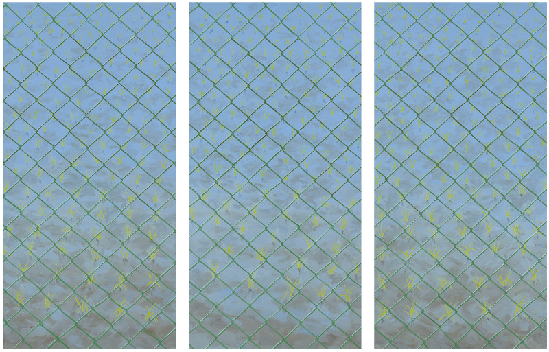 cyclone fence triptych 42 x 63 inches oil on board